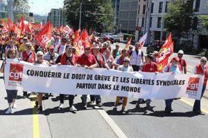 Plusieurs milliers de manifestants du monde entier devant l'OIT, à l'appel de la CSI