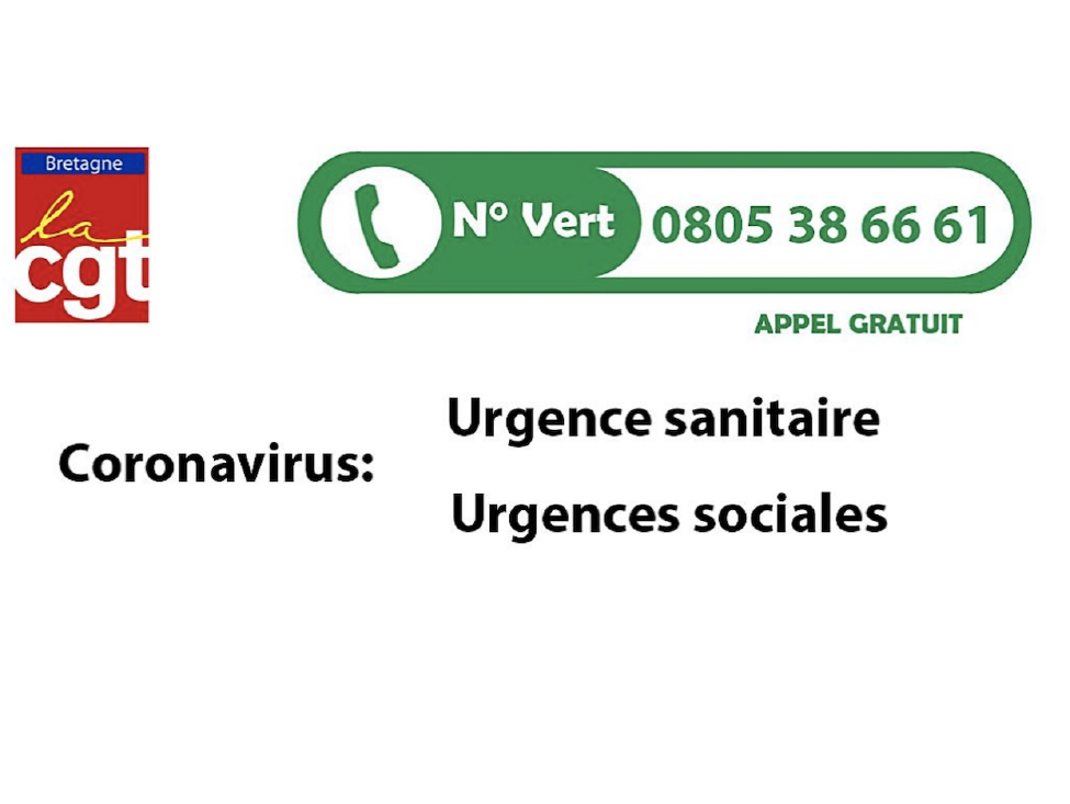 Coronavirus : des numéros verts CGT pour l'urgence sociale