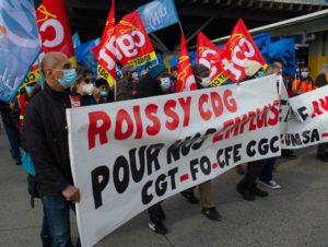 Zone aéroportuaire de Roissy-CDG : les syndicats défilent unis pour l'emploi