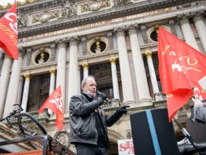 Denis Gravouil, syndicaliste CGT occupé à l'Odéon